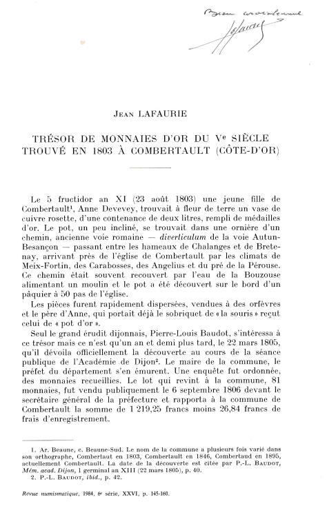 """Ancient Coins - Lafaurie J., Tresor de monnaies d'or du V siecle trouve en 1803 a Combertault (Cote-D'Or). Reprinted from """"Revue Numismatique 6° serie - Tome XXVI"""""""