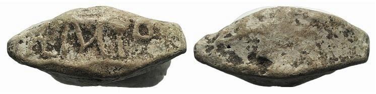 Ancient Coins - Greek Lead elliptical sling bullet, c. 3th–2rd centuries BC (30mm, 27.19g). […]AMIO.