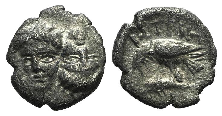 Ancient Coins - Moesia, Istros, 4th century BC. AR Diobol RARE