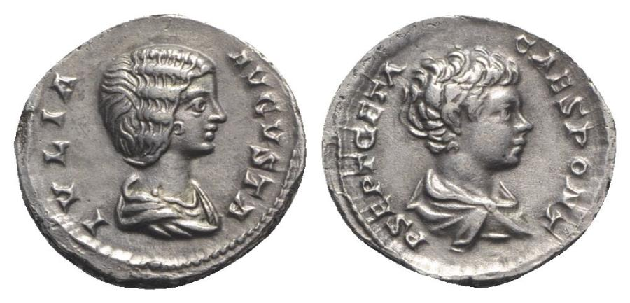 Ancient Coins - Julia Domna with Geta as Caesar (Augusta, 193-217). AR Denarius. Rome, c. 201-5. Bust of Julia Domna R/ Bust of Geta RARE