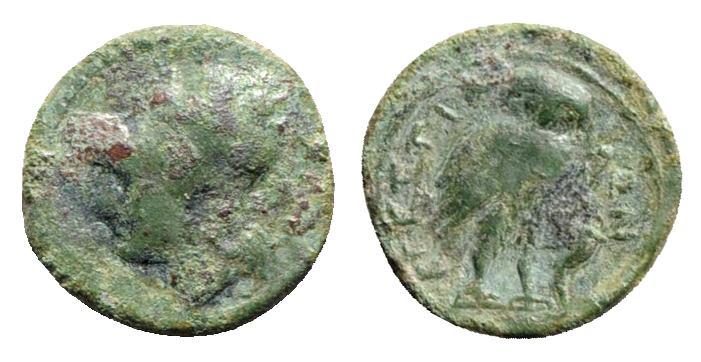 Ancient Coins - ITALY. Bruttium, The Brettii, c. 215-205 BC. Æ 1/6 Unit. R/ OWL