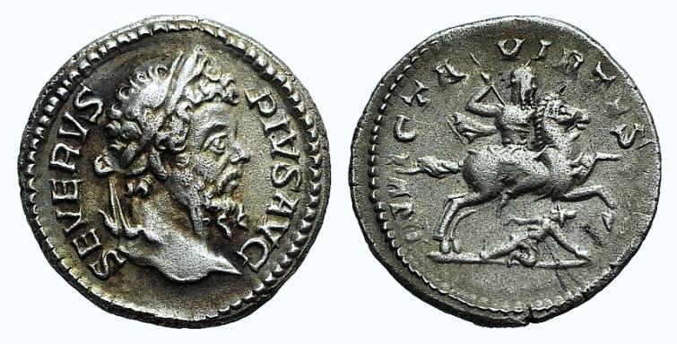 Ancient Coins - Septimius Severus (193-211). AR Denarius (17mm, 3.14g, 6h). Rome, 207. R/ Septimius on horseback