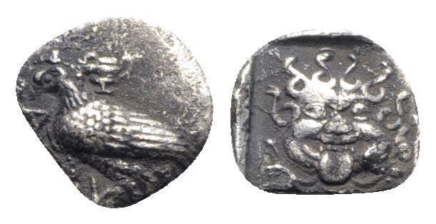 Ancient Coins - Troas, Abydos, c. 480-450 BC. AR Obol - Eagle / Gorgoneion