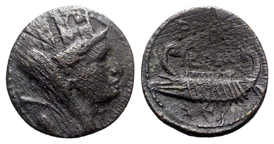 Ancient Coins - Phoenicia, Tyre, 1st century BC. Æ - Tyche / Galley