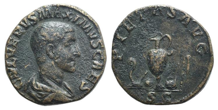 Ancient Coins - Maximus (Caesar, 235/6-238). AE Sestertius. Rome, 236-238. R/ Emblems of the pontificate