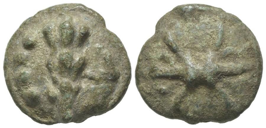 Ancient Coins - ITALY. Northern Apulia, Luceria, c. 217-212 BC. Cast Æ Quatrunx. Thunderbolt. R/ Club