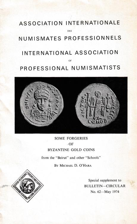 "Ancient Coins - O'Hara M. D., Some forgeries of Byzantine gold coins from the ""Beirut"" and other ""Schools"". No. 62"