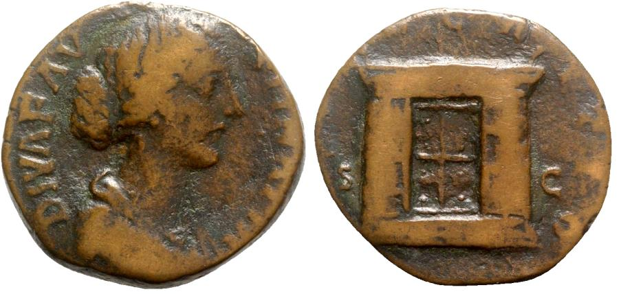 Ancient Coins - Diva Faustina Junior (died 175-6). Æ Sestertius - Rome - R/ Altar