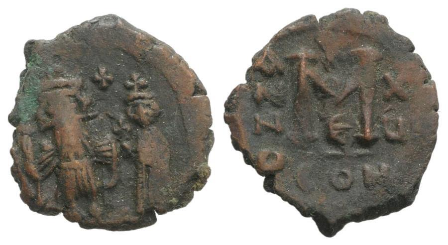 Ancient Coins - Constans II and Constantine IV (641-668). Æ 40 Nummi, year 15 (655/6). Constantinople.