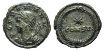 Ancient Coins - Commemorative Series, 330-354. Æ 13mm. Constantinople, 330. Bust of Genius  R/ Star