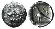 Ionia, Miletos, late 6th-early 5th century BC. AR Tetartemorion