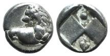 Ancient Coins - THRACE, Chersonesos. Circa 386-338 BC. AR Hemidrachm