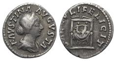 Ancient Coins - Faustina Junior (Augusta, 147-175). AR Denarius. Rome, 154-7.  R/ Two infants seated on draped throne