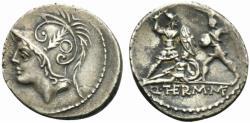 Ancient Coins - ROME REPUBLIC Q. Minucius Thermus M. f. Roma, 103 BC. AR Denarius.  Bust of Mars  R/ Two warriors in combat