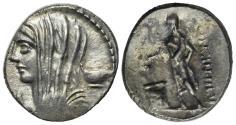 Ancient Coins - ROME REPUBLIC L. Cassius Longinus, Rome, 60 BC. AR Denarius. R/ Voter standing