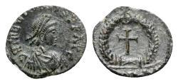 Ancient Coins - Theodosius II (408-450). Æ - R/ Cross within wreath