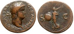 Ancient Coins - Nero (54-68). Æ As - Rome - R/ Victory