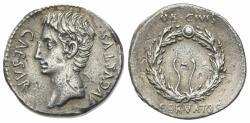 Ancient Coins - Augustus (27 BC-AD 14). AR Denarius. Uncertain Spanish mint (Colonia Caesaraugusta?), c. 19-18 BC.