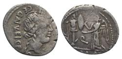Ancient Coins - ROME REPUBLIC C. Egnatuleius C.f., Rome, 97 BC. AR Quinarius. R/ Victory, inscribing shield attached to trophy