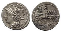 Ancient Coins - Roman Republic - Lucius Appuleius Saturninus, Rome, 104 BC. AR Denarius