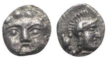 Ancient Coins - Pisidia, Selge, c. 350-300 BC. AR Obol. Facing gorgoneion. R/ Helmeted head of Athena