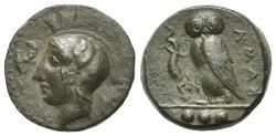 Ancient Coins - Sicily, Kamarina, c. 410-405 BC. Æ Tetras. R/ OWL