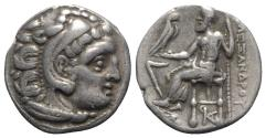 Ancient Coins - Kings of Macedon, Antigonos I Monophthalmos (Strategos of Asia, 320-306/5 BC, or king, 306/5-301 BC). AR Drachm. In the name and types of Alexander III. Kolophon, c. 310-301 BC.