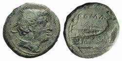 Ancient Coins - ROME REPUBLIC Anonymous, Rome, 217-215 BC. Æ Semuncia. Head of Mercury. R/ Prow