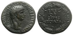 Ancient Coins - Claudius (41-54). Æ Sestertius. Rome, 41-2. OB CIVES SERVATOS  c/m: NCAPR within rectangular incuse.
