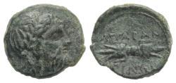 Ancient Coins - Sicily, Akragas, c. 300-287 BC. Æ 13mm. R/ Thunderbolt