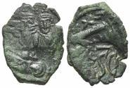 Ancient Coins - Heraclius (610-641). Æ 40 Nummi. Syracuse, 632-641. Busts of Heraclius and Heraclius Constantine. R/ Monogram and SCs.