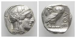 Ancient Coins - Attica, Athens, c. 454-404 BC. AR Tetradrachm R/ OWL EXTREMELY FINE