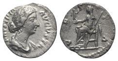 Ancient Coins - Faustina Junior (Augusta, 147-175). AR Denarius - Rome - R/ Vesta