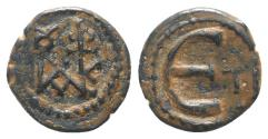 Ancient Coins - Justin II (565-578). Æ 5 Nummi. Theoupolis (Antioch). Monogram. R/ Large Є