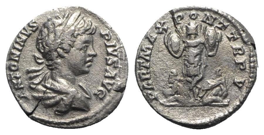 Ancient Coins - Caracalla (198-217). AR Denarius - Rome - R/ Trophy
