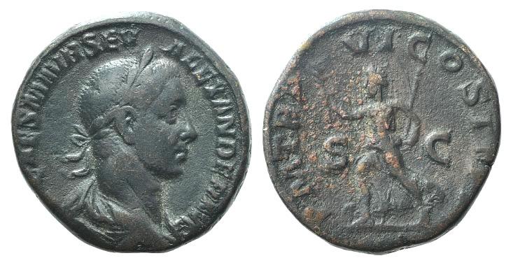 Ancient Coins - Severus Alexander (222-235). Æ Sestertius. Rome, 227. R/ Pax