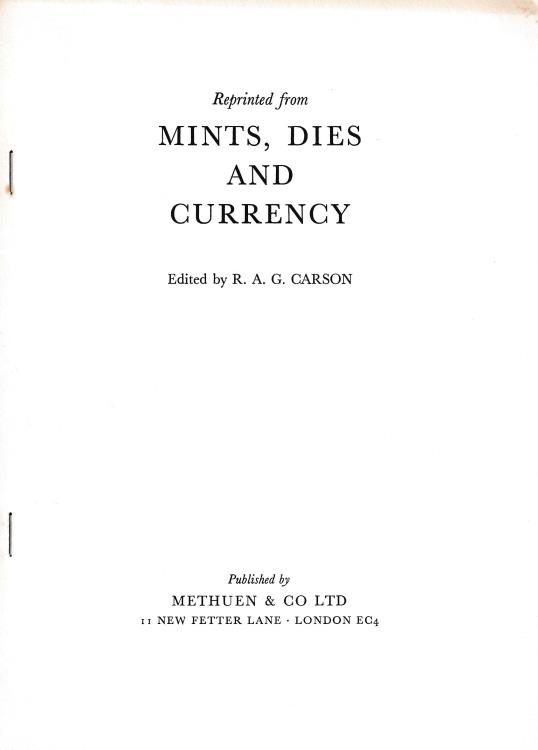 "Ancient Coins - Elmore Jones F., XI A Supplementary Note on the Mints of Bedwyn and Marlborough. Reprinted from ""Mints, dies and currency"""