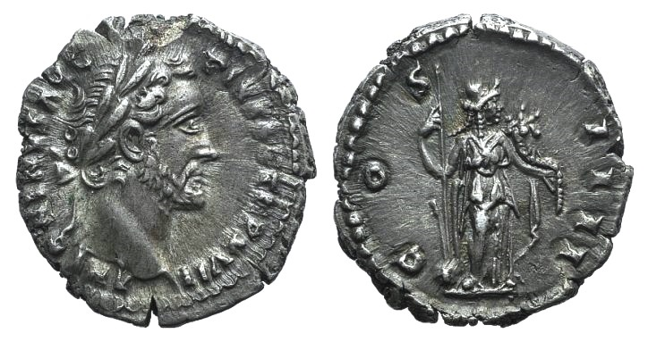 Ancient Coins - Antoninus Pius (138-161). AR Denarius. Rome, 153-4. R/ Fortuna Extremely Fine