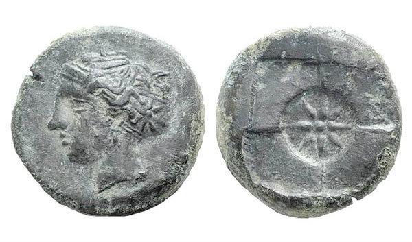Ancient Coins - Sicily, Syracuse. AE Hemilitron c. 410-405.