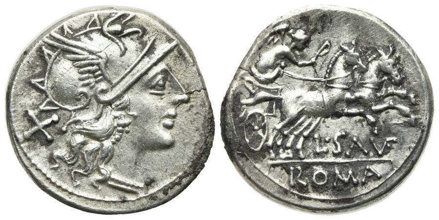 Ancient Coins - ROME REPUBLIC L. Saufeius, Rome, 152 BC. AR Denarius. R/ Victory driving galloping biga.