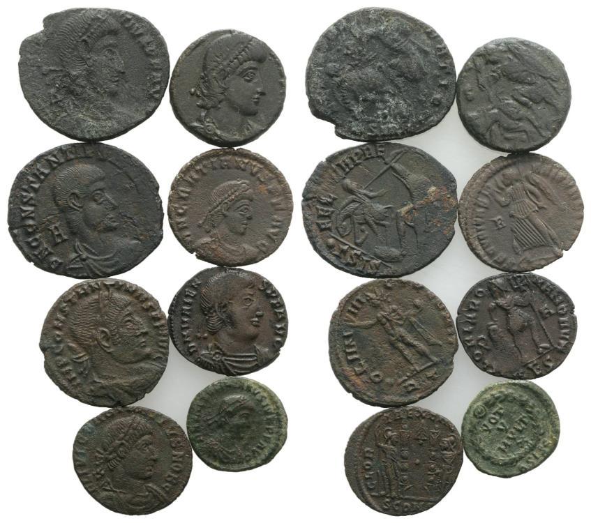 Ancient Coins - Group of 8 Late Roman Æ coins, including Constantine I, Constantius II, Constantius Gallus, Valens, Gratian, Valentinian II