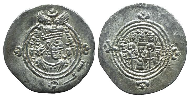 Ancient Coins - Sasanian Kings of Persia. Khusrau II (590-628). AR Drachm. WYH (Veh-Ardaxšīr).