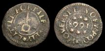 Ancient Coins - 1668 Littleport Borough Farthing Token Leg: Overseers of y Poor Boyne. 146 Cambridgeshire MH88 6271