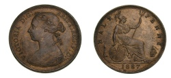 World Coins - GREAT BRITAIN HALF PENNY 1887 CHOICE GRADE AU+