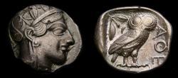Ancient Coins - ATTICA, Athens, Circa 454-404 B.C. AR Tetradrachm (25 mm, 17.10 gm., 4h) Toned EF