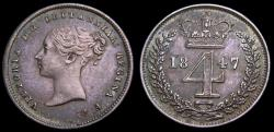 Ancient Coins - Great Britain 1847 4 Pence (Groat) From Maundy Set Mintage 4158 KM#732 S-3916 AU+ 6357