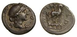 Ancient Coins - Man. Aemilius Lepidus (Rome, B.C. 114-113) AR Denarius (19.5 MM, 3.98 GM, 11 H) EF Toned
