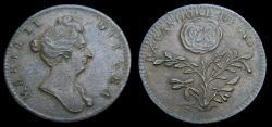 Ancient Coins - Great Britain c. 1689 William & Mary AE Medallic Token By Roettier Ex. Candore Decus Mi. 94 EF Rare