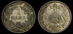 World Coins - Germany 1902-D Mark .900 Silver .1606 oz KM#14 UNC