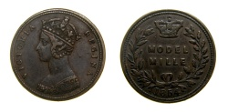 World Coins - Great Britain 1854 Half Penny Model Probably Issued by J. Moore Peck #92, Page 483, #2098, PL. 45, Very Scarce, Good VF+